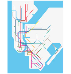 colored subway map new york city vector image