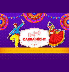 couple playing dandiya in disco garba night poster vector image