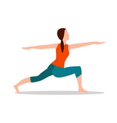 Crescent lunge twist yoga pose vector