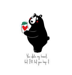 cute bear holding jar with heart vector image