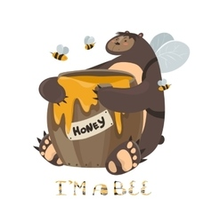 Cute bear with a barrel of honey vector image