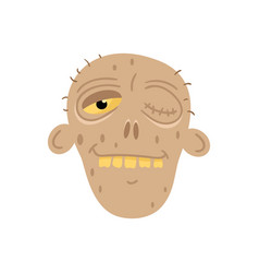 Cute dead man head avatar in cartoon style vector
