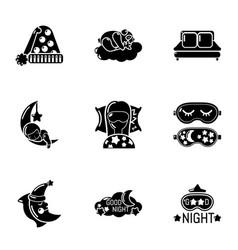 Deep slumber icons set simple style vector