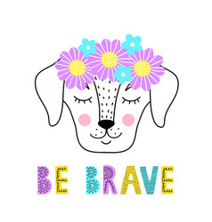 Dog with floral wreath vector