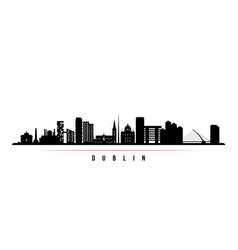 Dublin skyline horizontal banner black and white vector