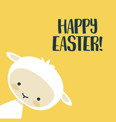 Easter background with cute lamb vector