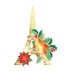 eiffel tower with poinsettia flower decor vector image