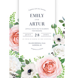 Elegant and stylish floral wedding invite card vector