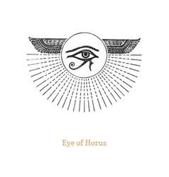 Eye horus drawing in engraving style vector