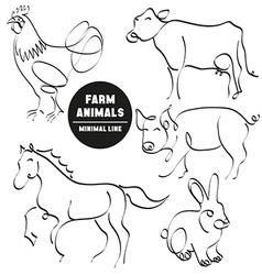 farm animals minimal hand drawn set pictures vector image