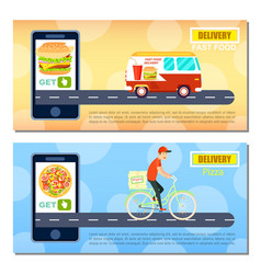 Fast food and pizza delivery flyers vector
