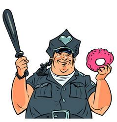 Fat cop with a doughnut vector