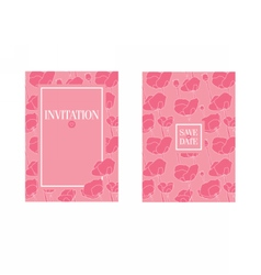 Floral wedding invitation template Pink flowers vector image