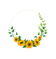 floral wreath with sunflowers and leaves design vector image