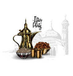 Food party with mosque isolated on white vector