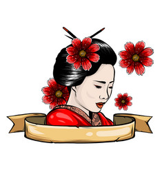Geisha color tattoo symbol asia japan china vector