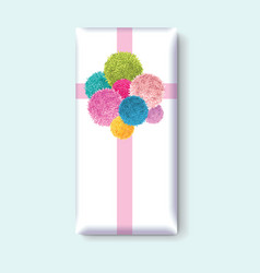 Gift box with a bunch colorful bakids vector