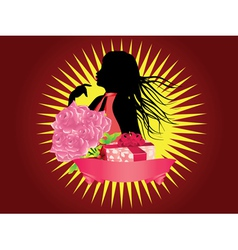 Girl with gift box and ribbon2 vector image