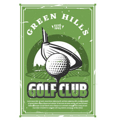 Golf sport club vintage banner with ball on tee vector