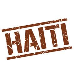 Haiti brown square stamp vector