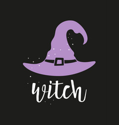 halloween card with witch hat isolated on black vector image