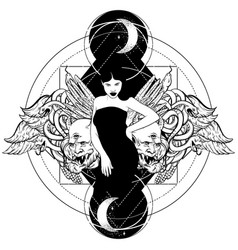 Hand drawn of beautiful woman with hands snakes vector