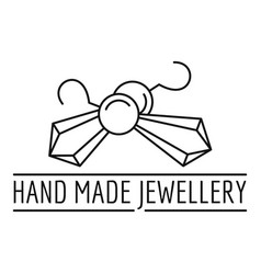 Hand made jewellery logo outline style vector
