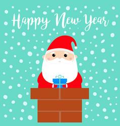happy new year santa claus on rochimney vector image