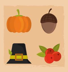 happy thanksgiving day pumpkin hat acorn vector image