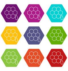 honeycomb icons set 9 vector image
