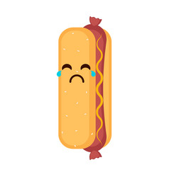 isolated crying hot dog emote vector image