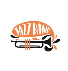 jazz band hand drawn lettering wind instrument vector image