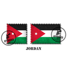 jordan or jordanian flag pattern postage stamp vector image