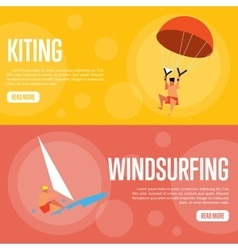Kiting and Windsurfing Horizontal banners vector image