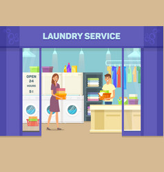 laundry room facade with man and woman vector image