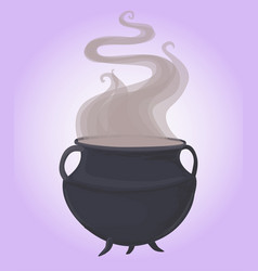 magic green cauldron bubbles and potion vector image