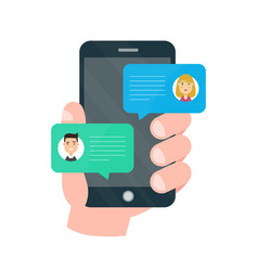 man person chatting on cellphone with woman vector image