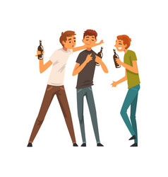 men with bottles of drinks male friends drinking vector image