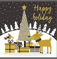 Merry christmas gold card with deer and gifts vector
