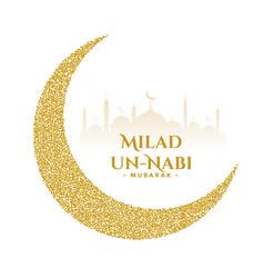 Milad un nabi golden festival wishes card design vector