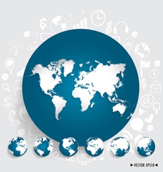 Modern world map and globe with application icon vector image