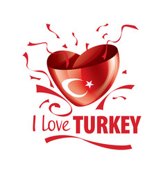 national flag turkey in shape a vector image