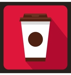 Paper coffee cup icon flat style vector image