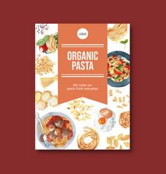 Pasta poster design with egg tomato vector