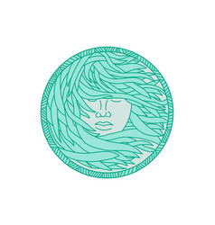 Polynesian woman sea kelp hair circle mono line vector