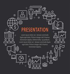 presentation outline icons set for website banner vector image