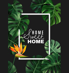 Realistic house plant frame background vector