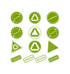Recycling conscious consumption set of stamps vector