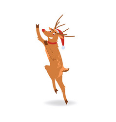 Reindeer with red nose in vector