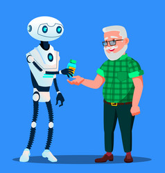 robot pharmacist doctor gives tablets pills to vector image